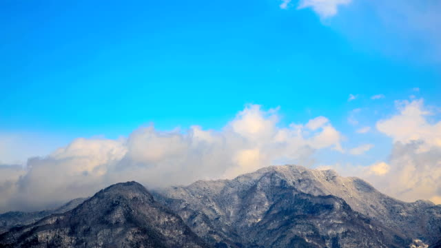 hd time lapse : moving cloud in a winter landscape - satoyama scenery stock videos & royalty-free footage