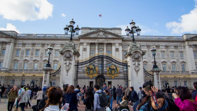 time lapse moving past crowds of tourists towards gates of buckingham palace - demokratie stock-videos und b-roll-filmmaterial
