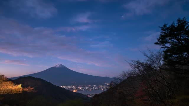 4k time lapse : mt. fuji and lake kawaguchi, yamanashi, japan. - mountain pass stock videos & royalty-free footage