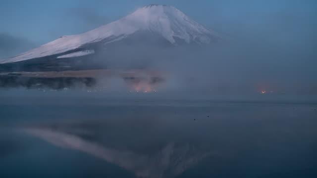 時間経過富士山山中湖、日本 - 山梨県点の映像素材/bロール