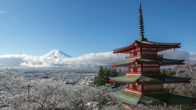 HD Time lapse Mt. Fuji with red pagoda in winter, Fujiyoshida, Japan