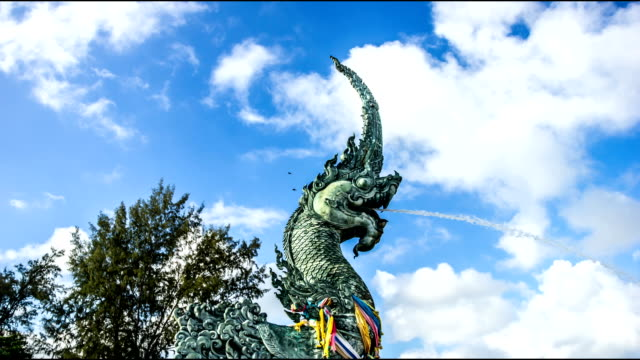 time lapse naga statue scenic songkhla - naga river stock videos and b-roll footage