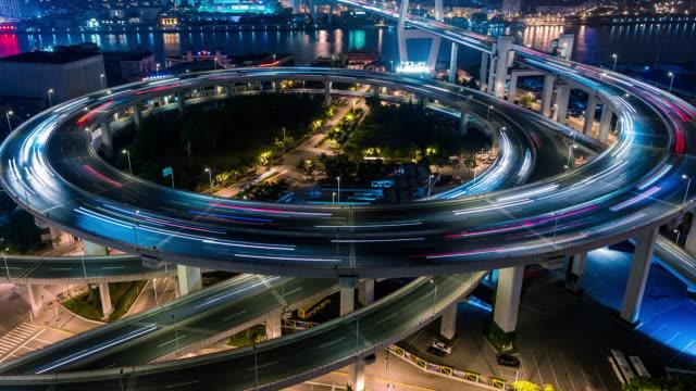 Time Lapse- Nanpu Bridge, City Traffic of Shanghai at Night (MS HA Panning)