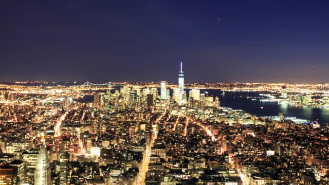 4 k intervallo di tempo : skyline di nuovo york città - new york stato video stock e b–roll
