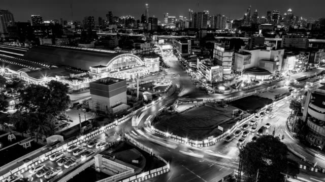 b&w, time lapse night city rush hour traffic. - mckyartstudio stock videos and b-roll footage