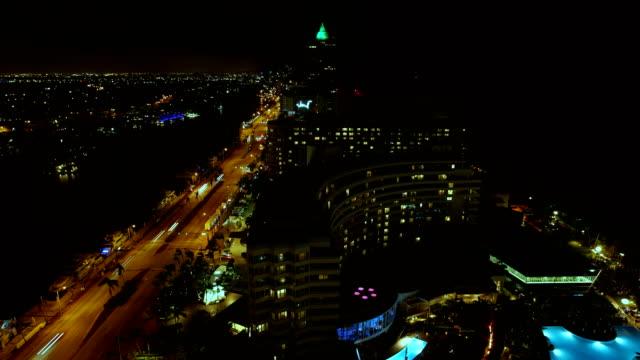 time lapse night illuminated miami fontainebleau hotel florida - ocean avenue stock videos & royalty-free footage