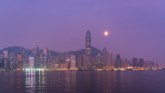 time lapse : night modern city business district hong kong - high rise skyscraper buildings in hong kong city - central plaza hong kong stock videos & royalty-free footage