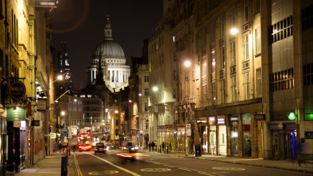 WS Time Lapse night of Fleet Street and St Pauls Cathedral