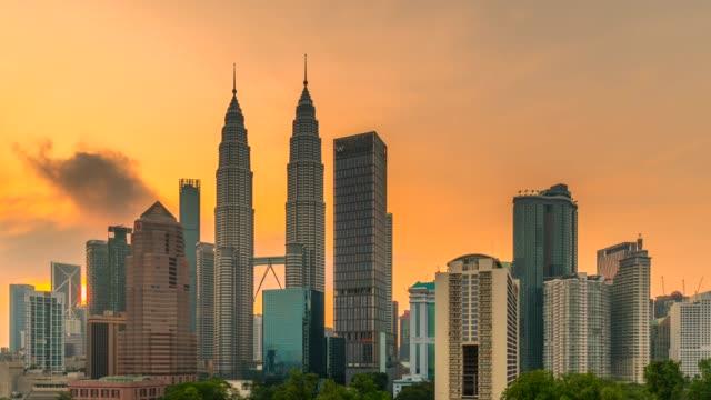 4K time lapse nacht tot dag van Kuala Lumpur skyline met verkeer High Way en Petronas Twin Tower, Maleisië