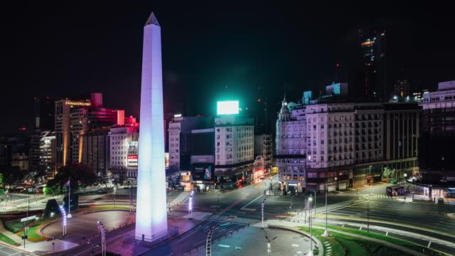 stockvideo's en b-roll-footage met time lapse nacht tot dag van obelisco de buenos aires - avenida 9 de julio