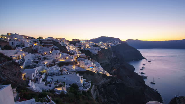 time lapse night to day santorini the world famous place in the world - oia santorini stock videos & royalty-free footage