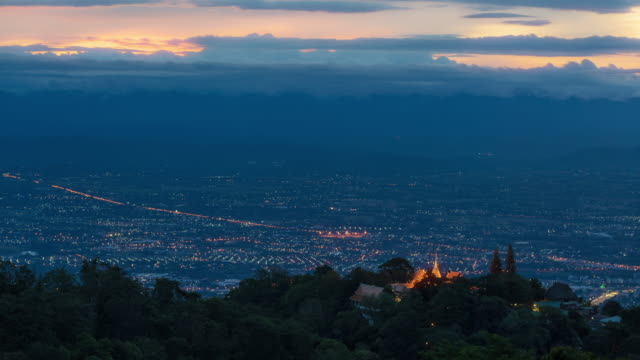 time lapse night to day wat phra that doi suthep temple landmark famous place at sunset in chiang mai - architectural feature stock videos & royalty-free footage