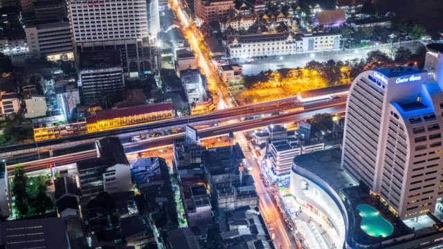 Time Lapse - Night Traffic in Bangkok (Panning)