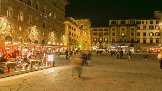 time lapse: night view of street of florence, italy - florence italy stock videos and b-roll footage