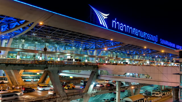 HD Time Lapse : Night view of Suvarnabhumi airport in Thailand