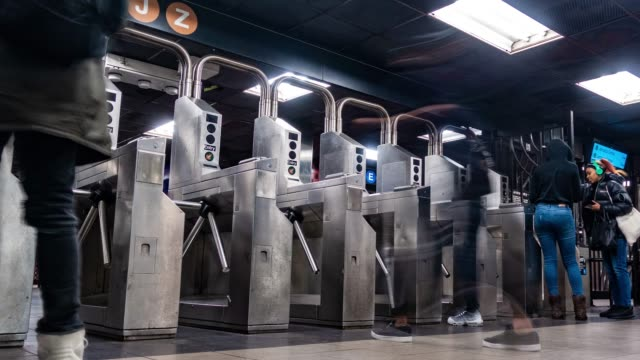 time lapse : nyc subway time lapse - turnstile stock videos & royalty-free footage