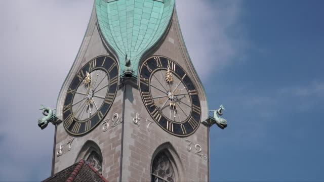 Time lapse of a clock on a clock tower in Switzerland