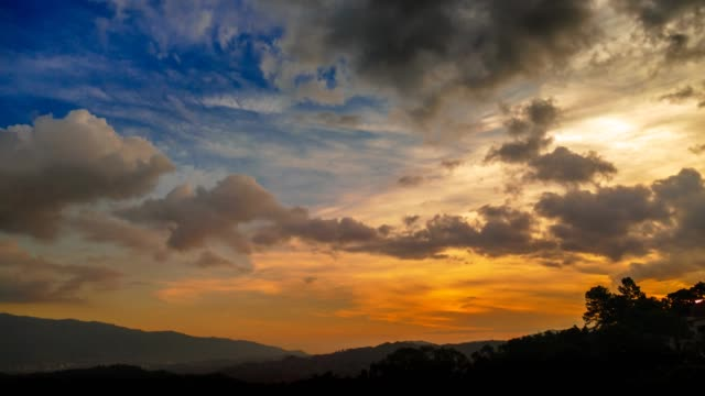 time lapse of a day to night sequence with clouds moving fast and sun rays glowing onto the high clouds. - day to night stock videos & royalty-free footage