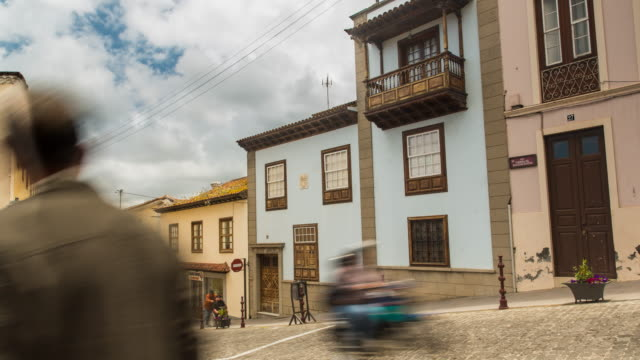 4K Time lapse of a historic and traditional street with tourists in La Orotava, Tenerife, Spain,