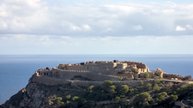 4K Time Lapse of a Spanish Civil War Fortress in the Mediterranean Sea with clouds