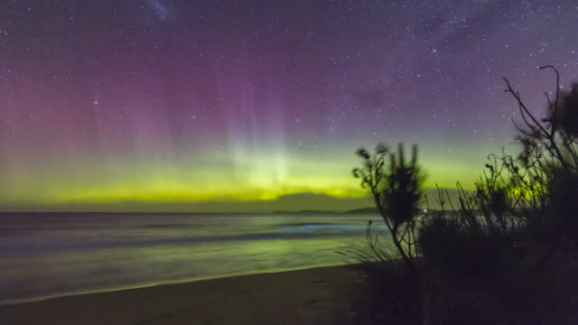 time lapse of a spectacular display of the aurora australis or southern lights over a beach in tasmania with bioluminescence in the waves. - aurora australis stock videos & royalty-free footage