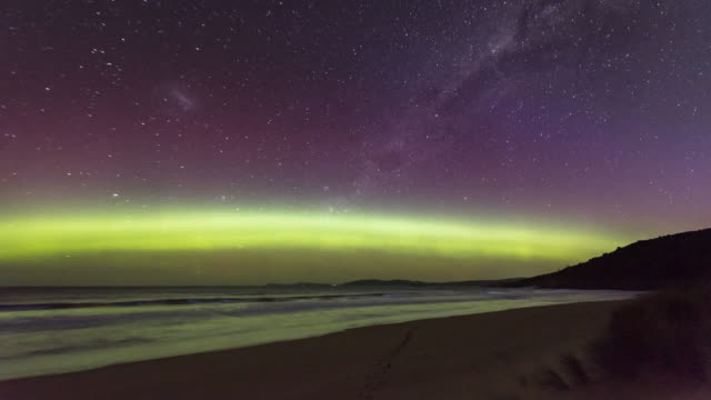 time lapse of a spectacular display of the aurora australis or southern lights - aurora australis stock videos & royalty-free footage