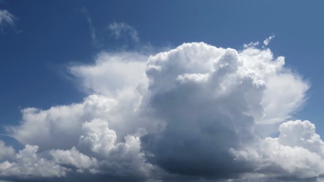 time lapse of a summer storm formation with moving high clouds forming towers - nube temporalesca video stock e b–roll