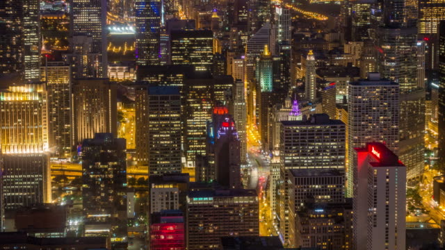 Time lapse of aerial view of Chicago downtown from high above
