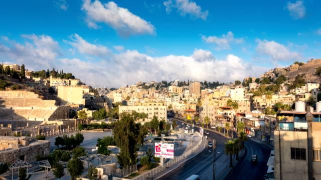 ヨルダンの首都アンマン市のタイムラプス - 地理的地域 国点の映像素材/bロール