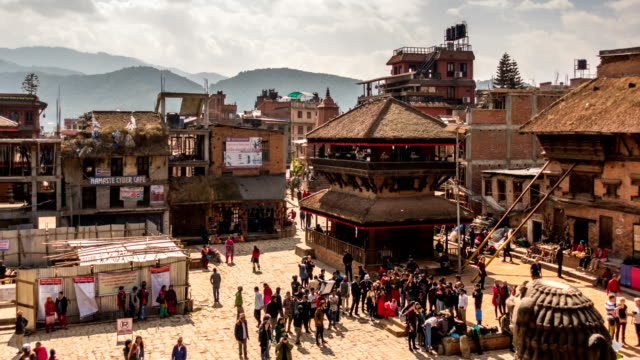 time lapse of ancient buddhist temples at durbar square in bhaktapur, nepal - kathmandu stock videos & royalty-free footage