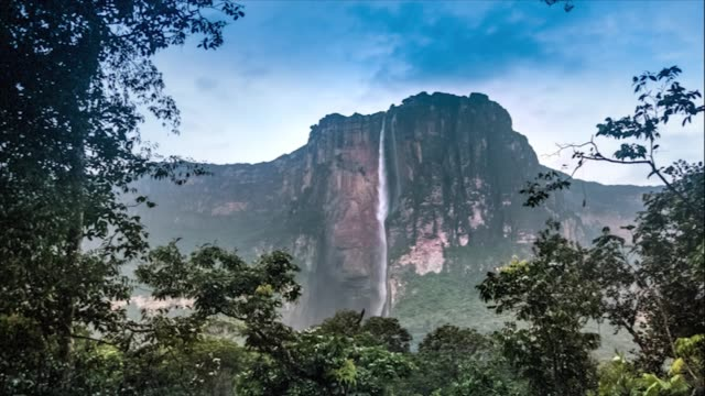 time lapse of angel falls in the canaima national park. venezuela - falling water stock videos & royalty-free footage