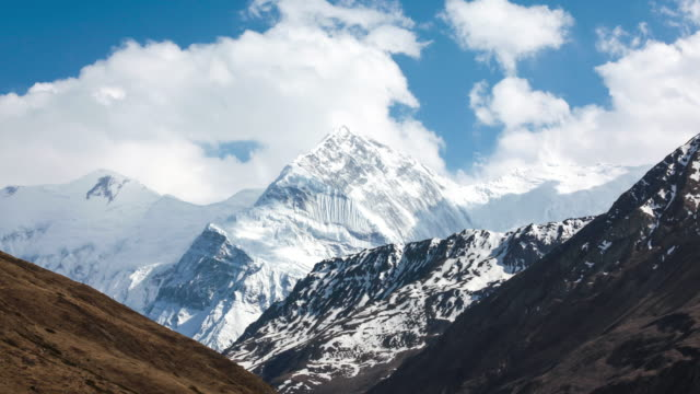 time lapse of annapurna mountains, himalaya, nepal - mountain peak stock videos and b-roll footage