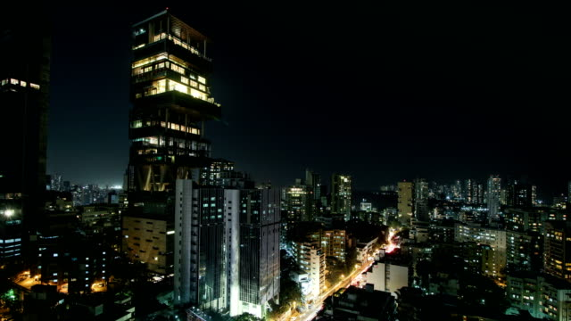 time lapse of antilia building in mumbai city - mumbai stock videos & royalty-free footage