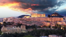 Time lapse  of Athens - Acropolis at sunset, Greece