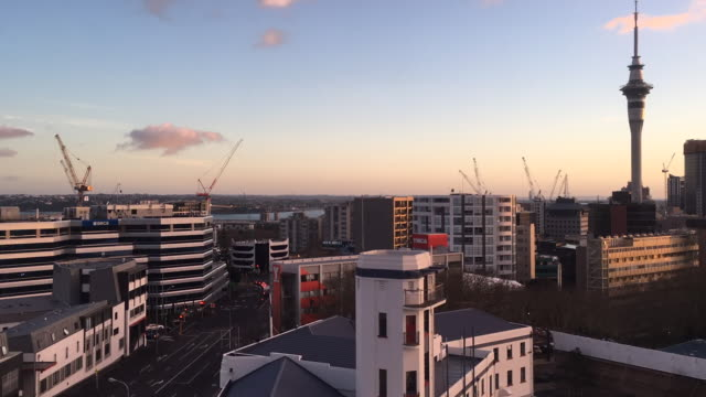 Time Lapse of Auckland city downtown skyline at sunrise