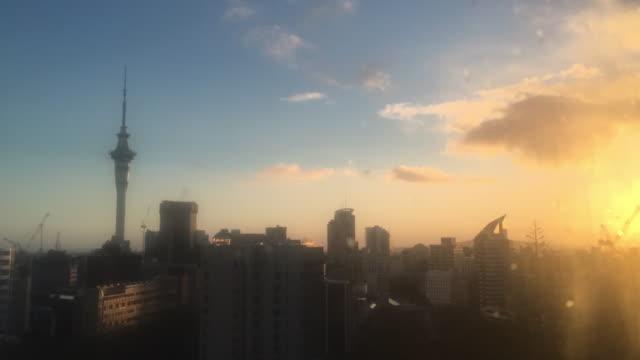 Time lapse of Auckland skyline at dusk sunrise