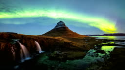 Time lapse of Aurora Borealis (Northern lights) over Kirkjufell mountain, Iceland