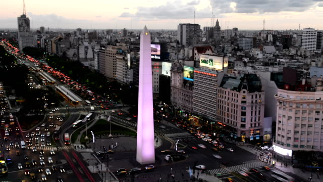 time lapse of avenida 9 de julio, ba - obelisk stock videos & royalty-free footage