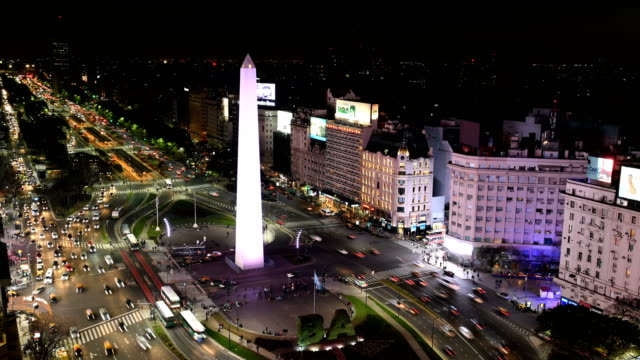 stockvideo's en b-roll-footage met time-lapse van avenida 9 de julio, ba - obelisk