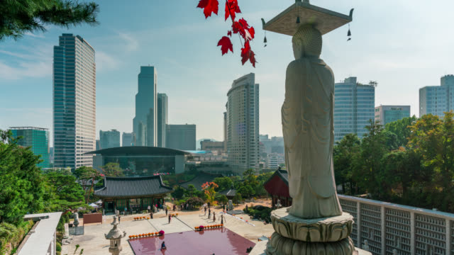 time lapse of back of big buddha with red maple leaf at bongeunsa temple during the autumn in the gangnam district of seoul, south korea. - temple building stock videos & royalty-free footage