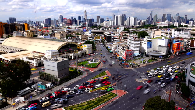 4k: time lapse of bangkok city and modern building with cloudscape. - shopping centre stock videos & royalty-free footage