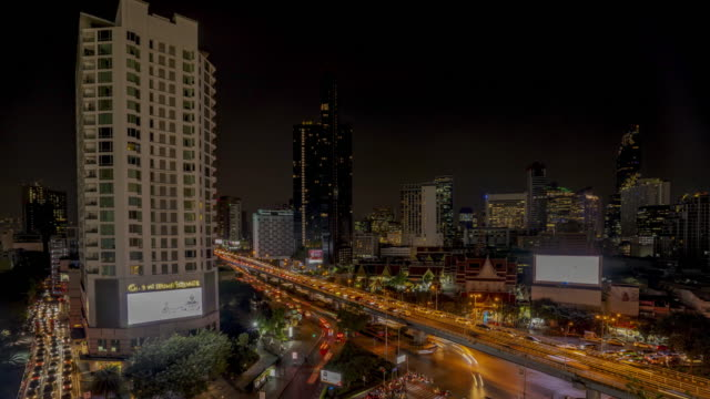 time lapse of bangkok city view and traffic road at night, thailand - bangkok stock-videos und b-roll-filmmaterial