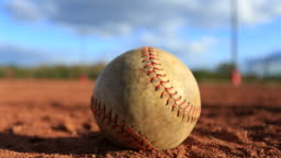Time lapse of baseball on field