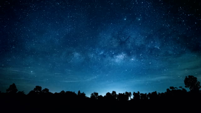 4k time lapse of beautiful night sky milky way stars. - spazio cosmico video stock e b–roll