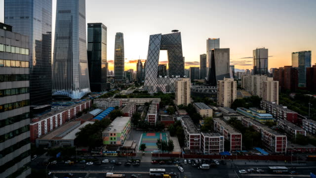 Time lapse of Beijing cityscape from day to night