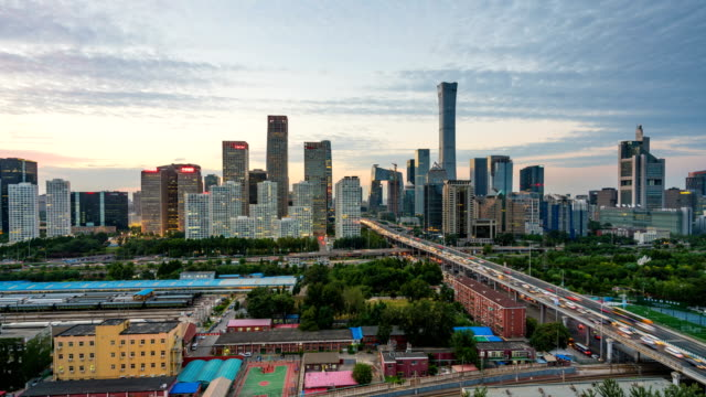 Time lapse of Beijing skyline from day to night