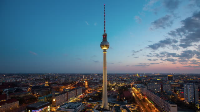 time lapse of berlin cityscape with tv tower , germany - germany stock videos & royalty-free footage