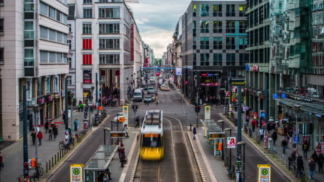 Time Lapse of Berlin Friedrichstrasse Shopping Street in Germany