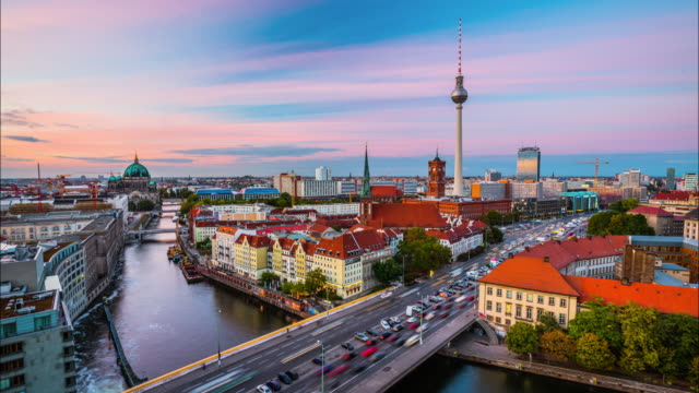 Time Lapse of Berlin Skyline at Sunset, Germany