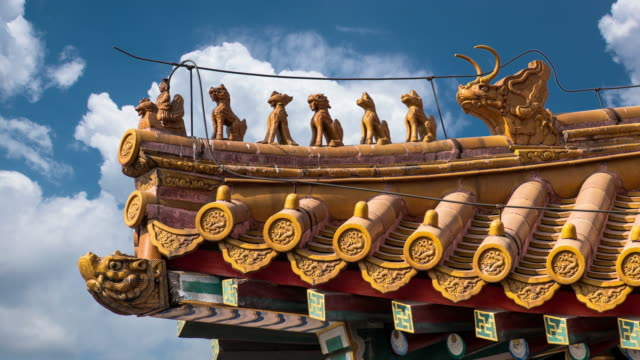 4k time lapse of blue sky with clouds and ancient buildings in the forbidden city, beijing, china - ancient stock videos & royalty-free footage